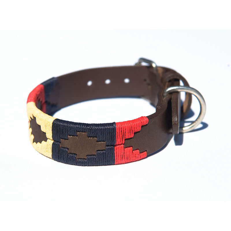 Pampa Leather Polo Dog Collar - Navy Cream Red