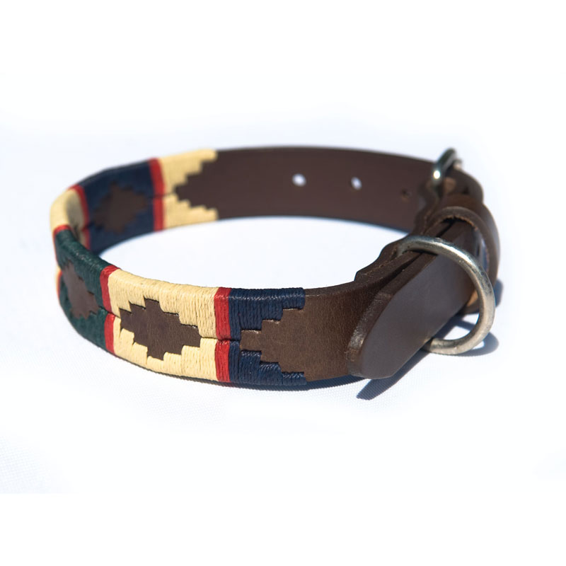 Pampa Leather Polo Dog Collar - Navy Cream Hunter Red Stripe