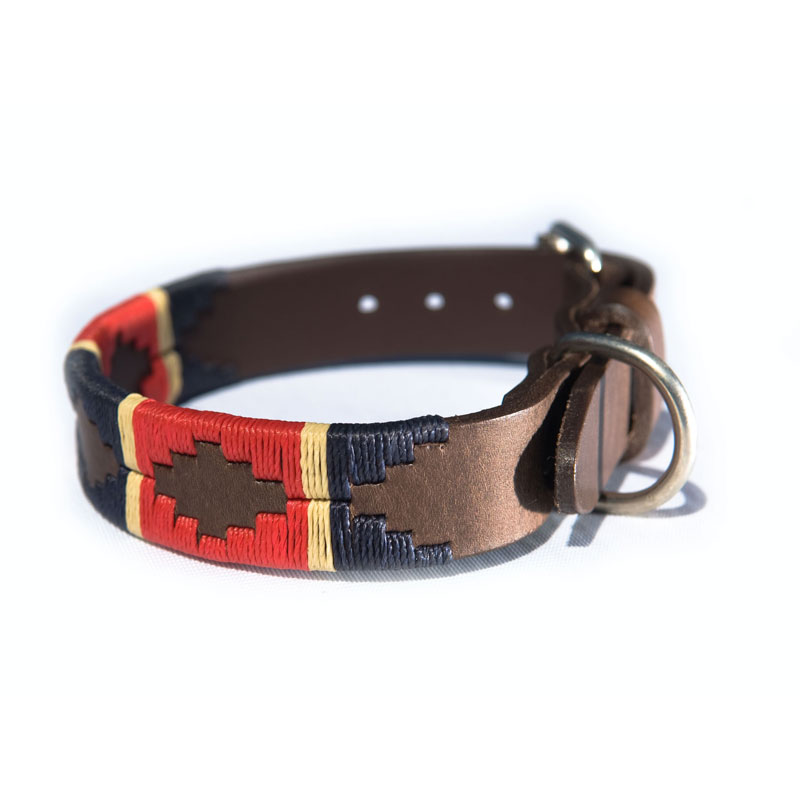 Pampa Leather Polo Dog Collar - Red Navy Cream Stripe