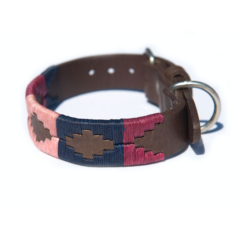 Pampa Leather Polo Dog Collar - Raspberry Navy Pink