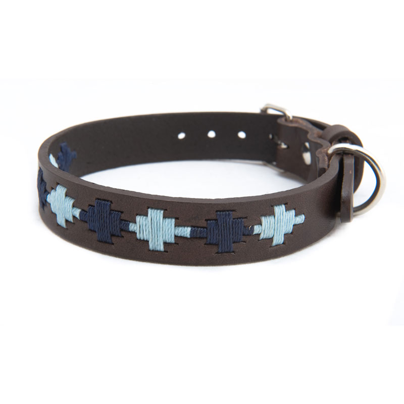 Pampa Leather Polo Dog Collar - Navy Pale Blue Star