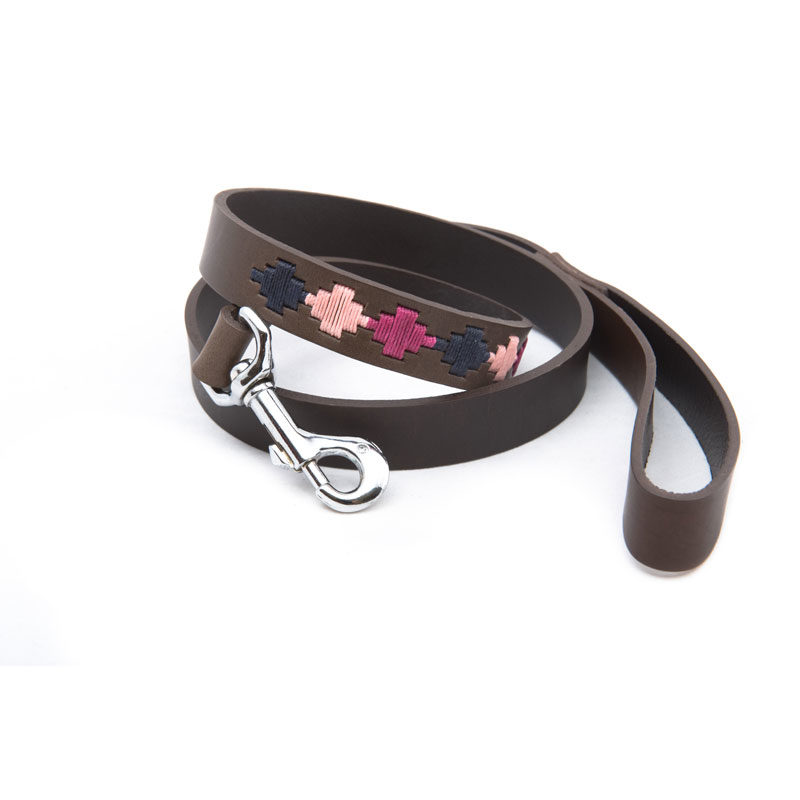 Pampa Leather Polo Dog Lead - Berry Navy Pink Star