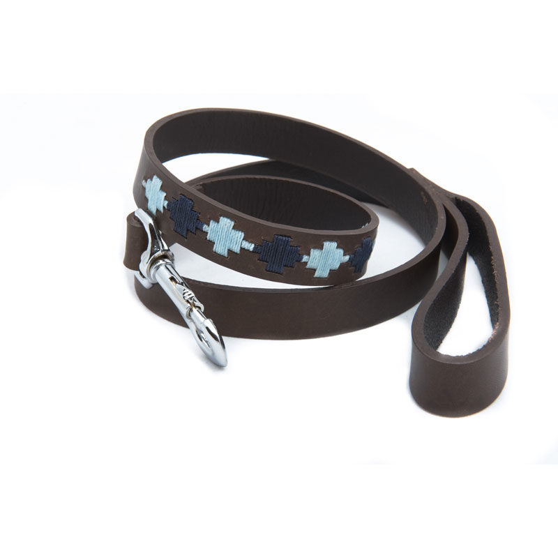 Pampa Leather Polo Dog Lead - Navy Pale Blue Star