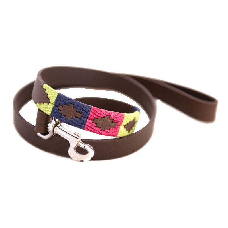 Pampa Leather Polo Dog Lead - Berry Green Navy