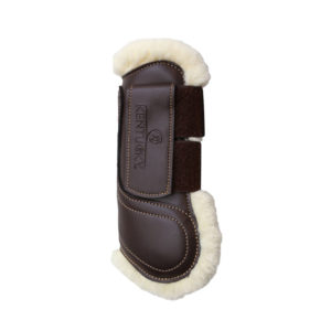 Kentucky Horsewear Sheepskin Leather Tendon Boots with Velcro Closure Brown