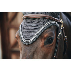 Kentucky Horsewear Long Fly Veil Stone and Pearl Grey