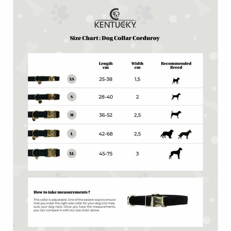Kentucky Dogwear Corduroy Dog Collar Size Chart