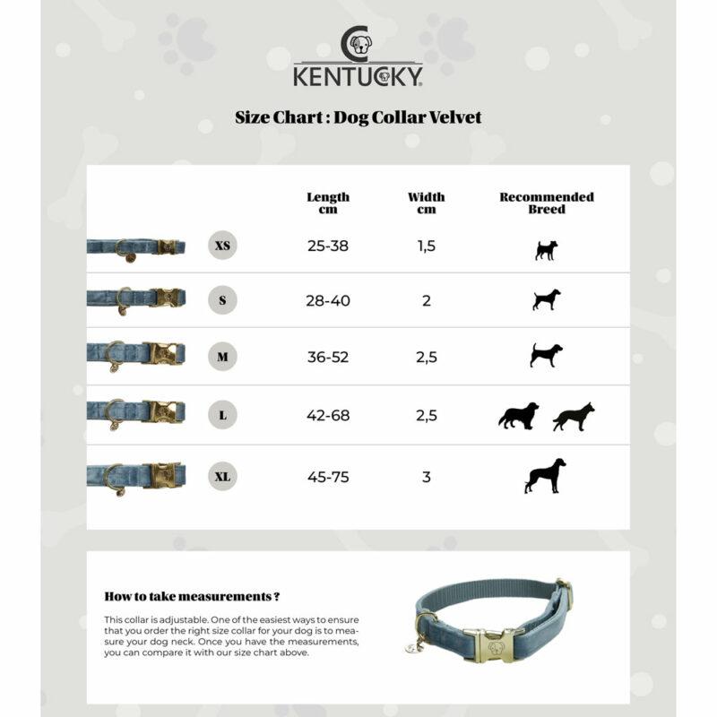 Kentucky Dogwear Velvet Dog Collars Size Chart