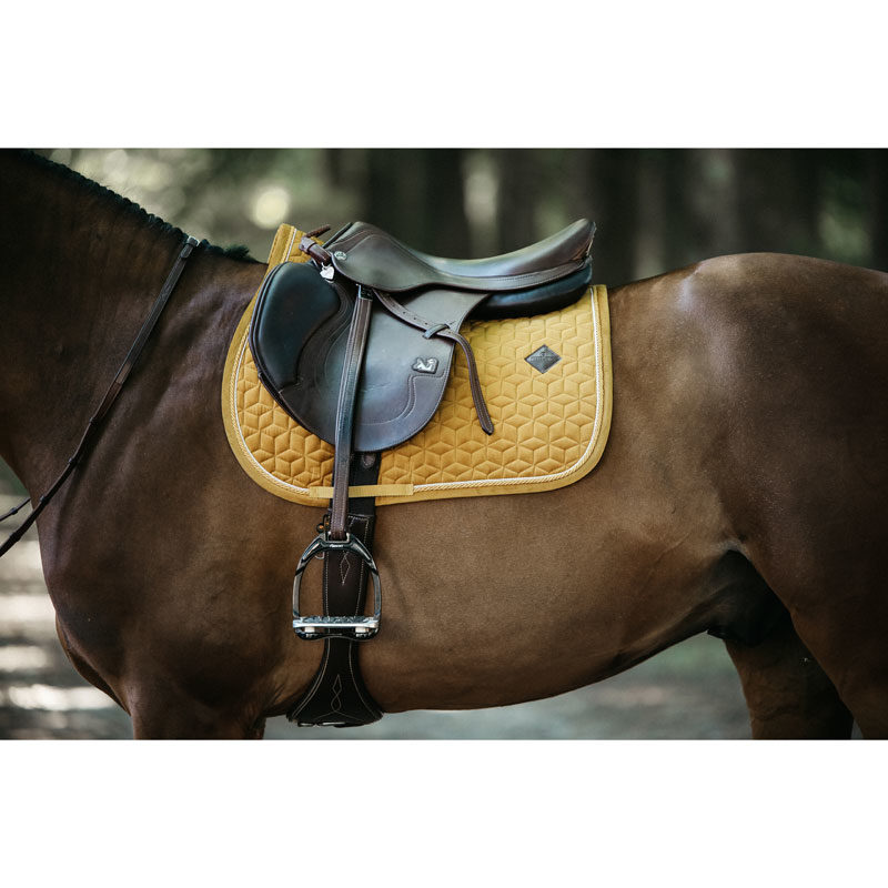 Kentucky Horsewear Velvet Saddle Pad Mustard Show Jumping 2