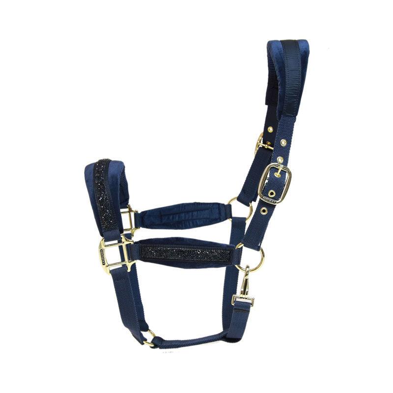 Kentucky Horsewear Glitter Stone Head Collar Navy