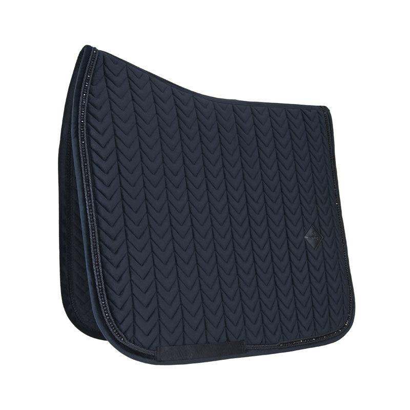 Velvet Saddle Pad Pearls Dressage Black