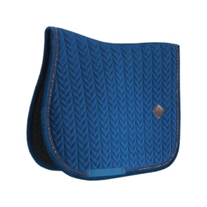 Velvet Saddle Pad Pearls Show Jumping Navy