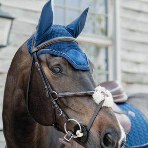 Kentucky Horsewear Velvet Fly Veil Pearls Navy 2