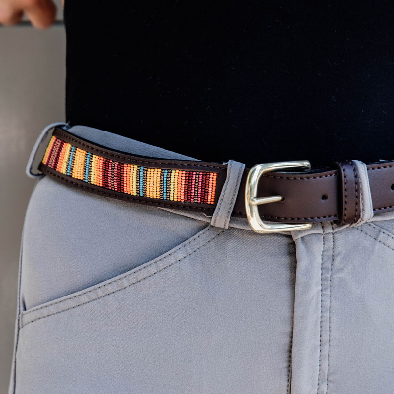 Kentucky Horsewear Belt Handmade Pearls Orange 1